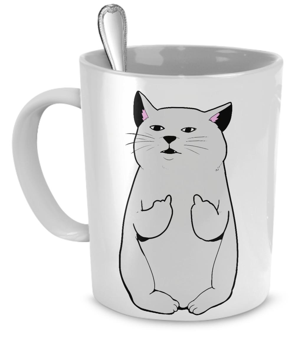 White Mug F U Cat